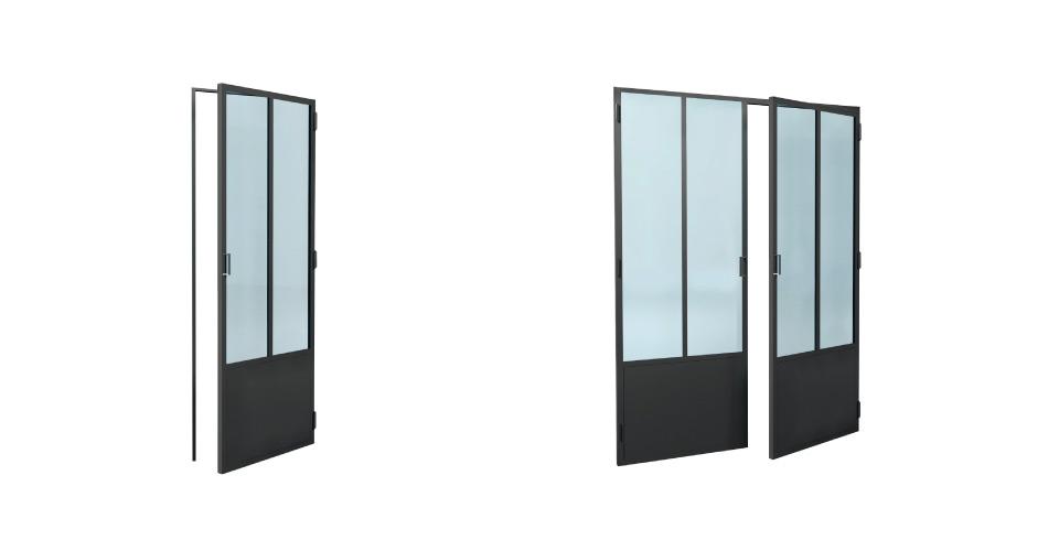 Porte vitr e atelier cloison vitr e laruche paris for Cloisons interieures vitrees
